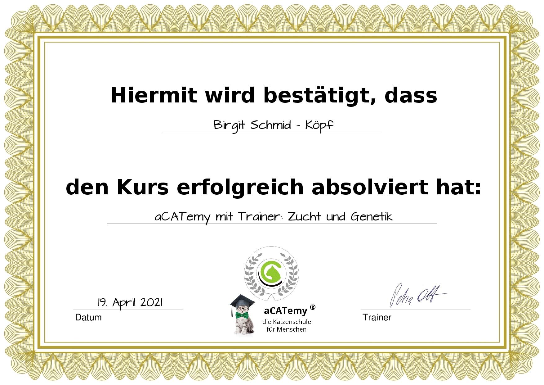 Zertificat Zucht Genetik